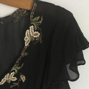 BCBG MaxAzria Black Sheer Top 100% Silk SZ S